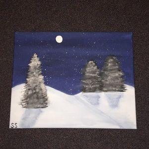 Midnight winter painting.